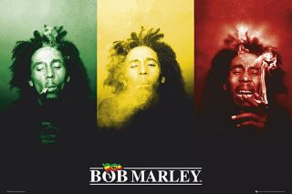 BOB MARLEY   POSER (3 IMAGES SMOKING JAMAICAN COLORS)