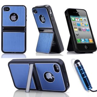 Pen Film Blue Aluminum TPU Stand Hard Case Cover With Chrome For