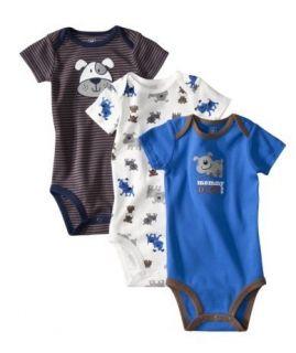 Carters Baby Boy 3 Bodysuits Blue Brown Puppy NB 3 6 9 12 18 24 Months