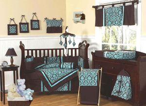 Bella Blue and Brown Window Treatment Panels Curtains