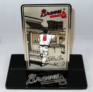 Bobby Cox Metal Card w Display Stand Managerial Record RARE Braves