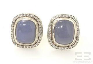 Yurman Sterling Silver 18K Gold Blue Chalcedony Diamond Post Earrings