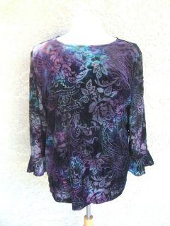 Coldwater Creek Purple Blue Velvet Floral Rose Burnout Shirt Top Sz XL