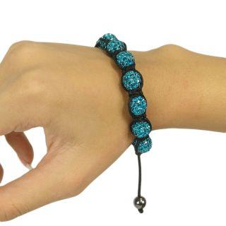 Adjustable Blue Crystal Ball Rhinestone Beaded Bracelet Shamballa