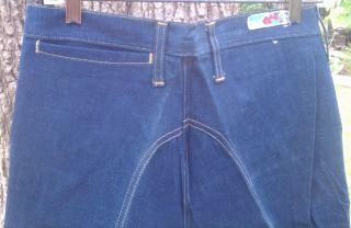 Wrangler Curve 1970s Vintage Big Bell Bottom Blue Denim Jeans with