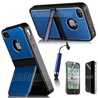 Blue Aluminum TPU Hard Case Cover W Chrome Stand For iPhone 4 4S