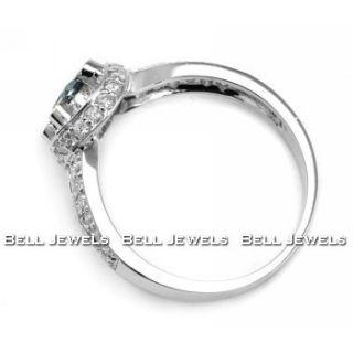 Fancy Blue White Diamond Engagement Ring 14k White Gold
