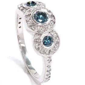 80 Carat 3 Three Stone Blue White Diamond Engagement Ring White Gold