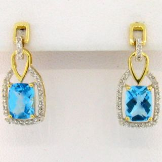 14k Antique Cushion Cut Blue Topaz Diamond Earrings