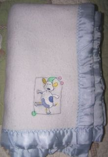 Carters White w Blue Flannel Emu Namae Cow Baby Boy Blanket