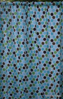 Blue Green Brown Large Polka Dots on White Curtains Drapery Set New