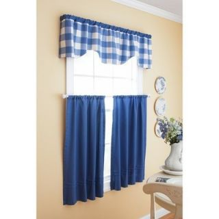 and Gardens Checks N Solids Kitchen Curtain Set Blue Denim