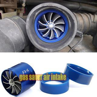 Car Gas Saver Supercharger Turbine Turbo Charger Air Intake Fan Blue
