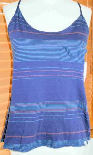 Roxy Navy Blue Orange Striped Deco Tank Top