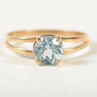 Ladies 3 4ct Blue Topaz Solitaire 10K Yellow Gold Ring Size 7 5 ♥ 0