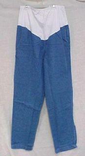Maternity Scrub Pants Blue Denim Stretch Panel L New