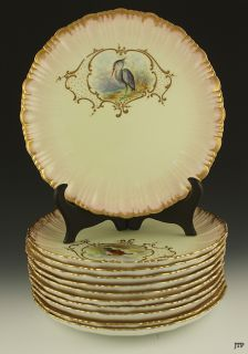 12 BODLEY HAND PAINTED GAME BIRD PORCELAIN PLATES