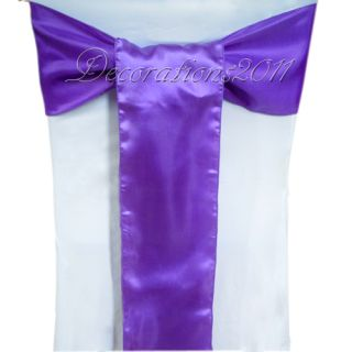 100PCS Purple Satin Sashes Bows Wedding Party Chair Cover Banquet 15