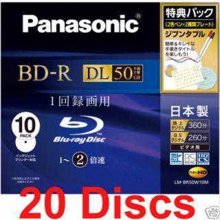 20 Panasonic Blu Ray BD R DL HD Media 50GB 2X Bluray