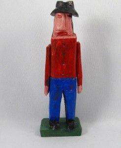 QUEBEC PRIMITIVE FOLK ART WOOD CARVING MAN SIGNED EMILE BLUTEAU
