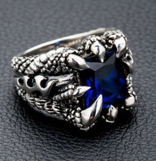 Blue Sapphire Dragon Eagle Claw Blade 925 Sterling Silver Ring Sz 10