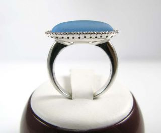 Ladies 14k White Gold Blue Topaz Diamond Ring 5 22ctw