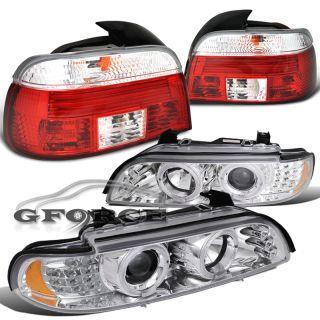 97 00 BMW 5 Series E39 Sedan LED Projector Halo Headlights Red Tail