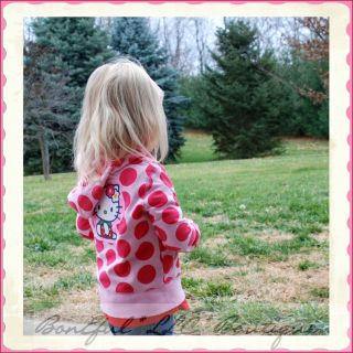 BonEful RTS Boutique Fabric 2 3 Girl Sweatshirt Zip Dot Red Pink Top