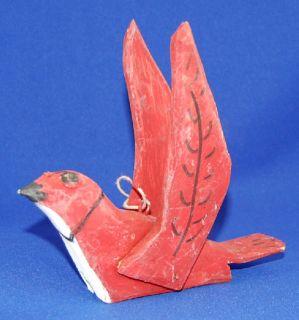 Emile Bluteau Folk Art Primitive Carving Listed Quebec Red Bird