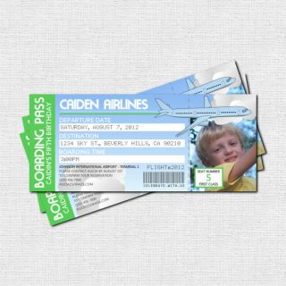 Personalized AIRPLANE BOARDING PASS Birthday Party Invitations