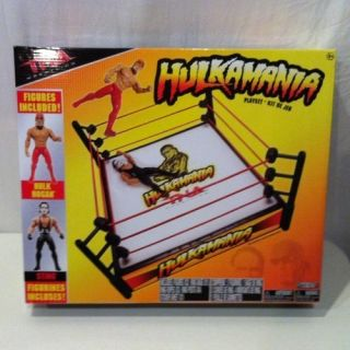 Wrestling Hulkamania Ring Playset w Bonus Figures Hulk Hogan Included