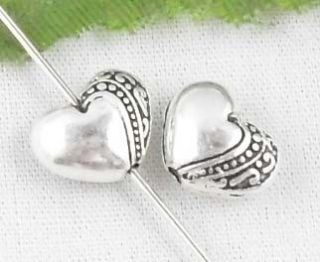 Free SHIP 60pcs Tibetan Silver Heart Spacer Beads 10x8mm
