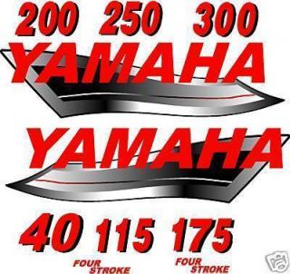 Yamaha Outboard Boat Motor Sticker Decals Red Set