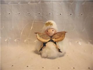 Handmade Primitive Raw Cotton Boll Christmas Angel Ornament