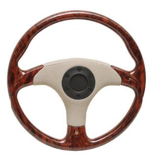 Marine 13 1 4 inch Cherrywood Beige Black Boat Steering Wheel