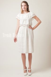 Vintage 70s Pretty White Cape Lace Edge Collar Prarie Aline Dress M L