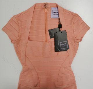 Herve Leger Rae Bandage Dress Size XS $1590 Authentic Signature Pink