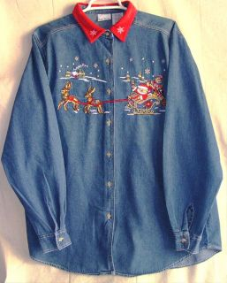 BOBBIE BROOKS Ladies Size L 12 14 Christmas Holiday Embroidered Denim
