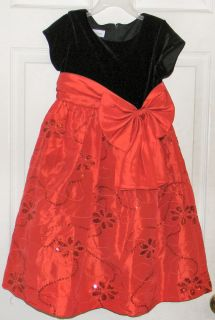 Bonnie Jean Black Red Christmas Dress With Sequins Girls Size 6