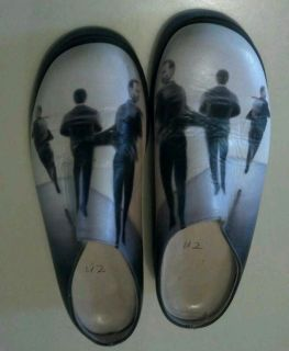 U2 Bono Custom Hand Painted Leather Womans Clog 1 of A Kind Size 6 1