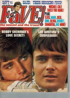 Fave Magazine Oct 1969 Bobby Sherman Davy Jones Len Whiting Elvis Mike