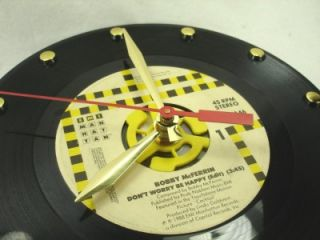 Bobby McFerrin DonT Worry Be Happy Recycled Vinyl Record Clock 45rpm