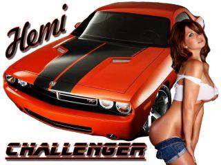 Car T Shirt 2011 Challenger R T Mopar Pinup Girl Shirt
