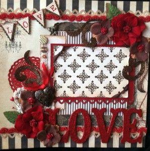 Momz Karen Valentines Day Love Elegant Shabby Chic Premade Scrapbook