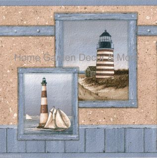 Blue Painterly Lighthouse Nautical Wall Paper Border