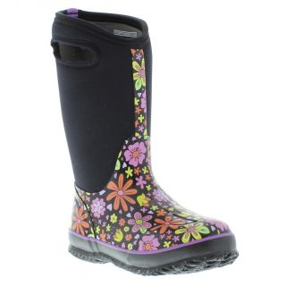 Bogs Wellies Neoprene Crazy Daisy Kids Black Multi Welly Boot Sizes UK