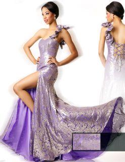 Dana Mathers Jackie Purple Metallic Formal Gown Prom Pageant Dress