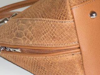 NWT Genuine brown suede embossed&snake leather handbag tote strap made