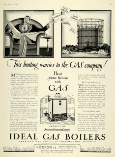 1927 Ad American Radiator Home Gas Boiler Heating NY Original