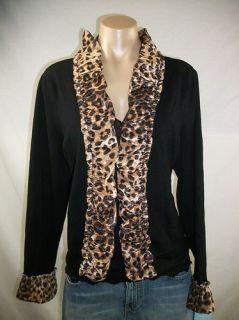 New Womens Inc Deep Black Stretch Knit Cardigan w Velvet Leopard Trim